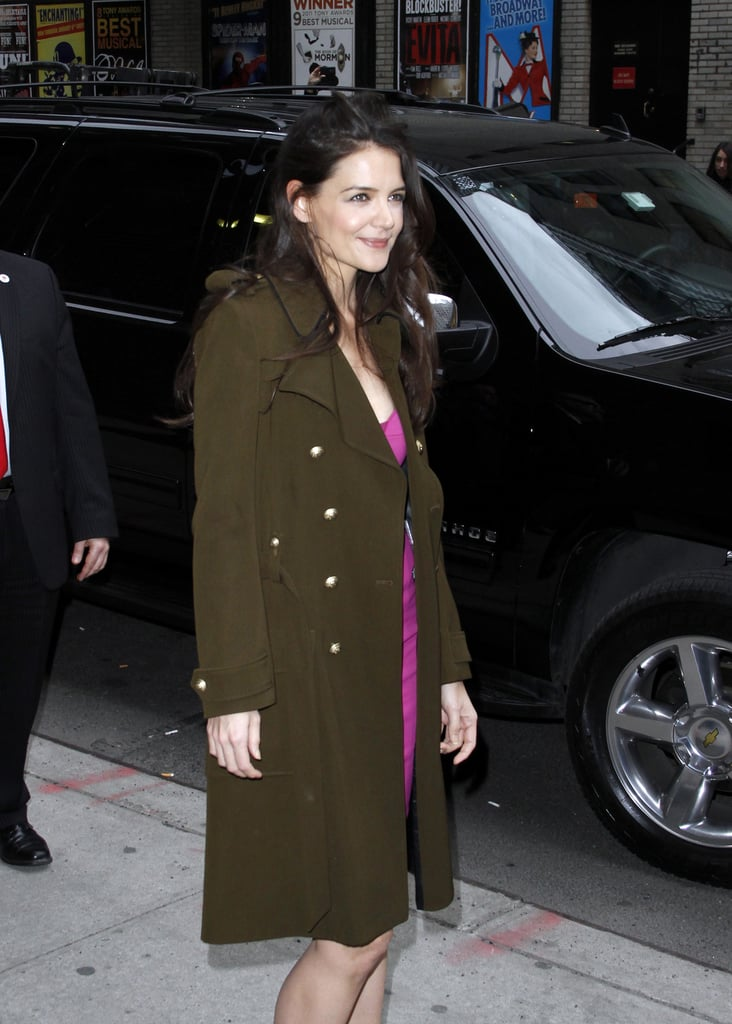 Katie Holmes posed for pictures outside of the Late Show in NYC.