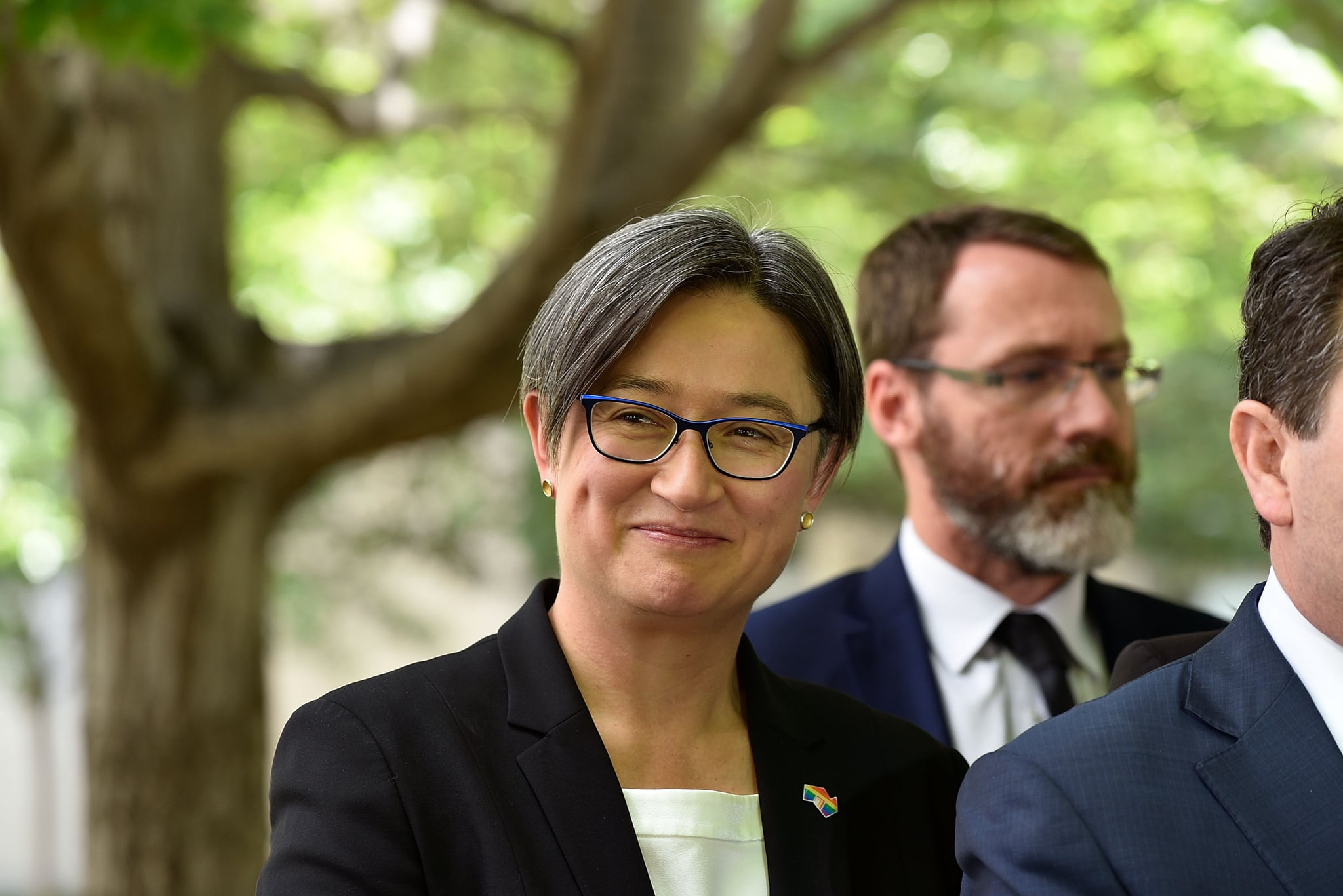 CANBERRA, AUSTRALIA - NOVEMBER 29:  Senator Penny Wong celebtrates the passing of the marriage equality bill through the Senate at Parliament House on November 29, 2017 in Canberra, Australia. The Senate is expected to pass legislation on same-sex marriage today after Australians voted 'Yes' in the Marriage Law Postal Survey for the law to be changed.  (Photo by Michael Masters/Getty Images)