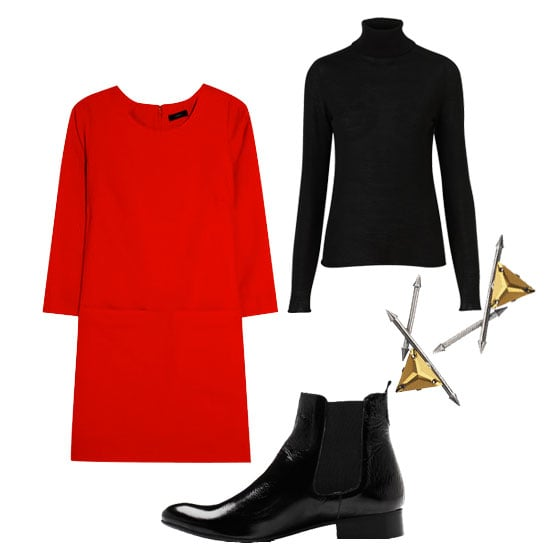Here's an easy layering trick: style a black turtleneck under a red shift dress for an eye-catching, effortless ensemble. Finish with a pair of stunning earrings and sleek Chelsea boots. Shop the look:  Topshop Knitted Merino Wool Roll Neck Top ($90) J.Crew Jules Stretch-Wool Twill Shift Dress ($198) Need Supply Co. Cecilia Boots ($209) Fenton Gunmetal Arrow Spike Earrings Aith Crystals ($280)