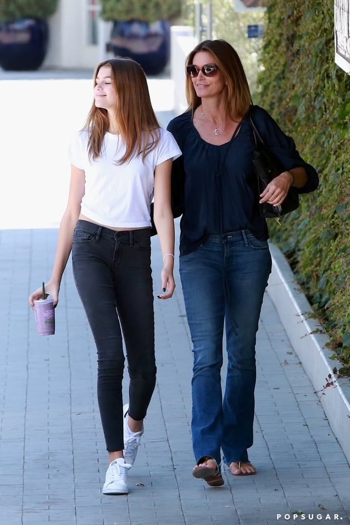 Cindy Crawford was spotted doing a little shopping in LA on Monday with her stunning daughter, Kaia Gerber. The duo (who, let's be honest, could easily pass for sisters) walked side by side down the street before making their way into a Sephora store and trying on lip colors. It goes without saying that the 14-year-old, who recently graced the cover of Vogue Paris with her supermodel mom, is taking after Cindy in the genes department; Kaia scored her first big modeling campaign with Chrome Hearts earlier this year and followed that up with a spot in Alexander Wang's Spring ads. She has also been hitting the red carpet on solo outings as well as with her equally attractive brother, Presley, and attended Coachella with her mom and dad, Rande Gerber. We clearly have a lot more to look forward to from this Cindy Crawford clone.