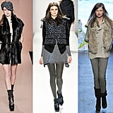 Vests ruled the Fall 2010 runways.  From left: sophisticated black fur at DKNY, leopard print puffers at Rebecca Taylor, and fab faux at Banana Republic.