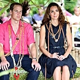 The Duke and Duchess were presented with necklaces.
