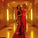 Lea Michele and Dianna Agron reunited for Glee's disco-themed 100 episode.  Source: Instagram user msleamichele