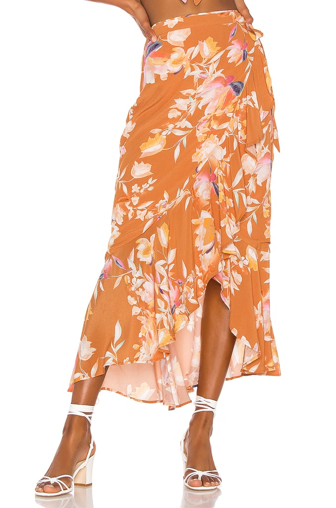 Song of Style Kaia Midi Skirt in Rust Floral from Revolve.com