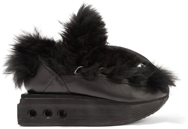 The Y-3 + Adidas Originals Ruyk Hike Faux-Fur and Leather Wedge Sneakers ($575) look like they're growing hair out of every direction.