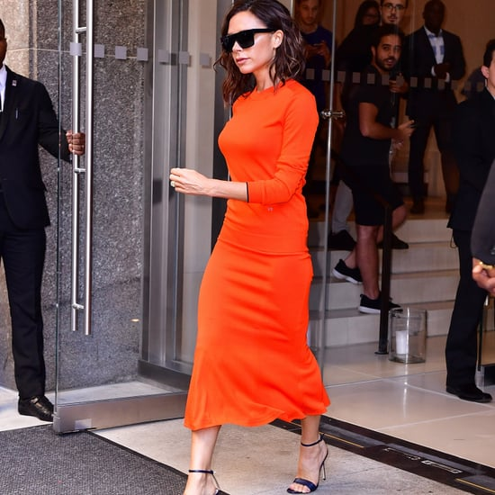 Victoria Beckham's Orange Outfit on Seth Meyers 2016