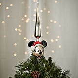 Santa Mickey Mouse Glass Tree Topper