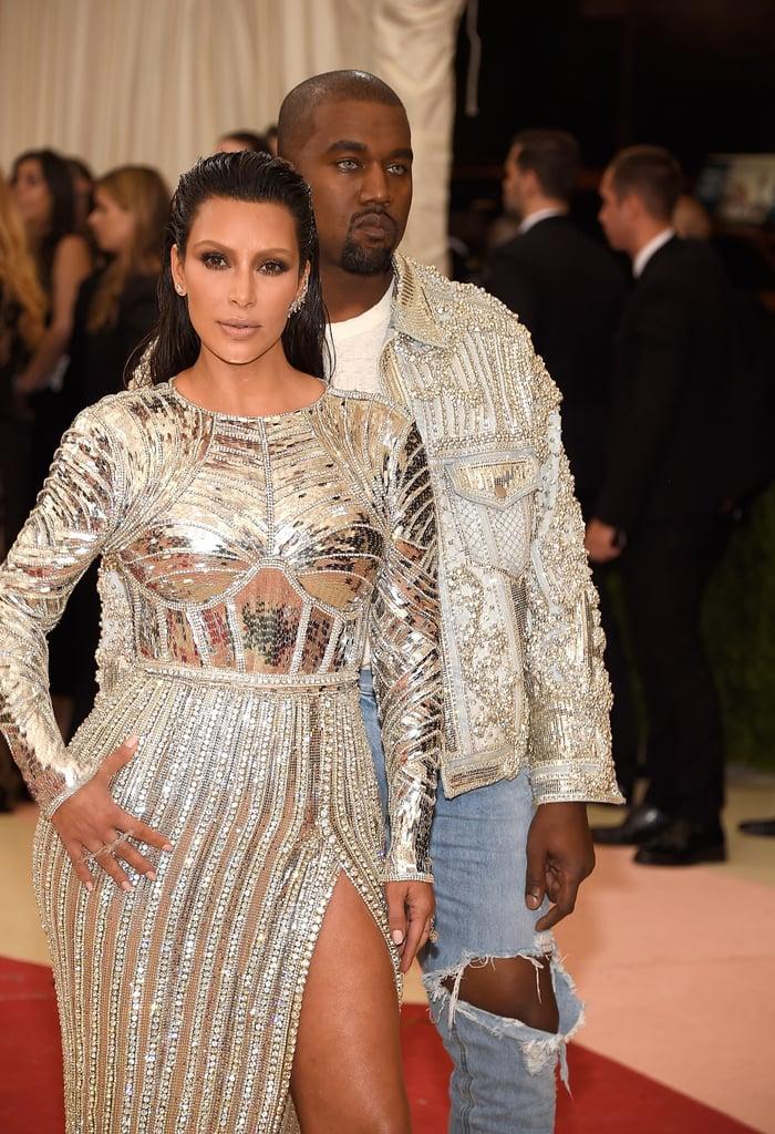 Kim Kardashian Brows and Kanye West Blue Eyes 2016 Met Gala