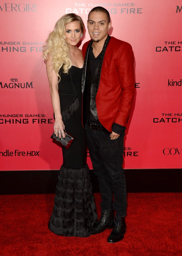 Ashlee Simpson stuck close to boyfriend Evan Ross.