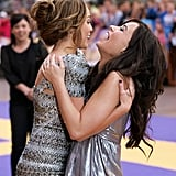 Miley Cyrus and Demi Lovato got the giggles at the London premiere of Hannah Montana in April 2009.