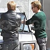 Ryan Gosling looks hot at a gas station.