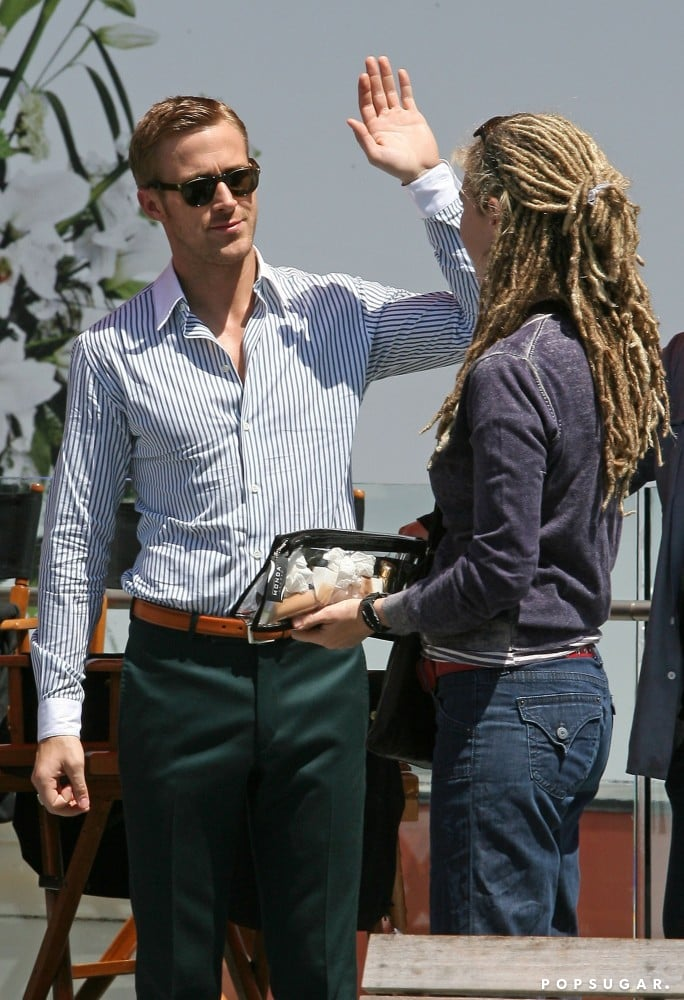 Hopefully Ryan Gosling wasn't left hanging when he tried to give a crew member a high five on a movie set in April 2010 in LA.