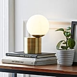 Rivet Modern Glass Globe Living Room Table Desk Lamp
