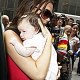 Victoria Beckham during Fashion Week with Harper Seven Beckham.