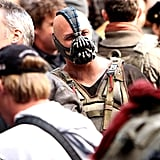 Tom Hardy wore a terrifying face mask as Bane.