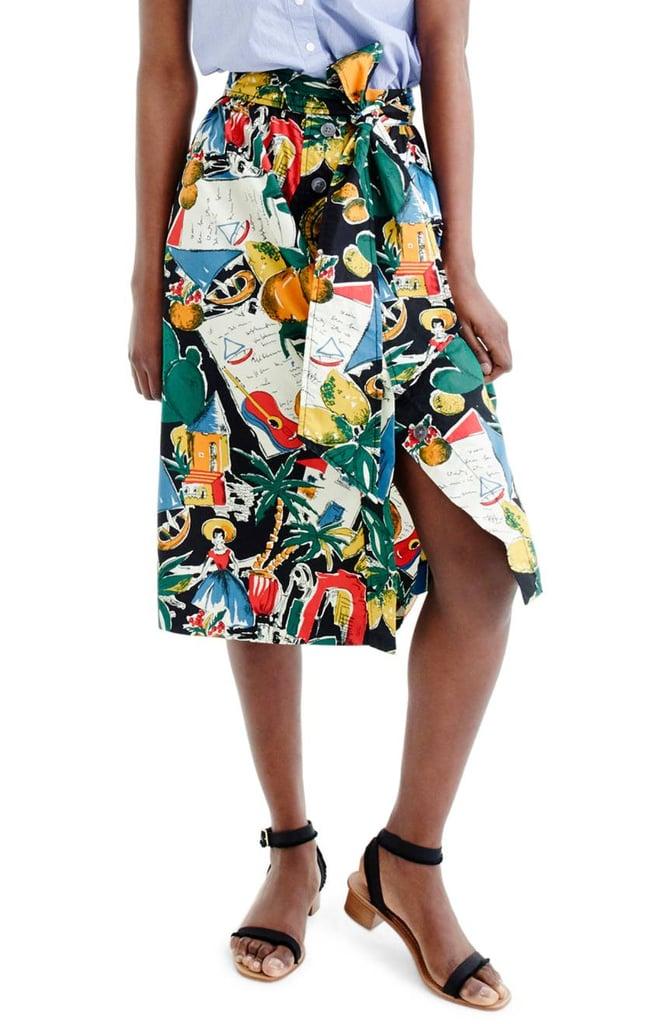 5ce52e340591 J.Crew Women s Postcard Print A-Line Skirt