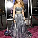 For the 2008 NYC premiere of Sex and the City: The Movie, Sarah Jessica Parker played the part of majestic fairy-tale princess in a metallic Nina Ricci ball gown.