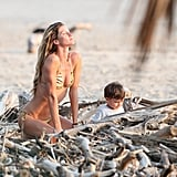 Gisele Bundchen and Benjamin Brady sat on the beach together.