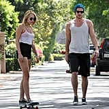 Miley Cyrus went skateboarding in LA with Liam Hemsworth this July.