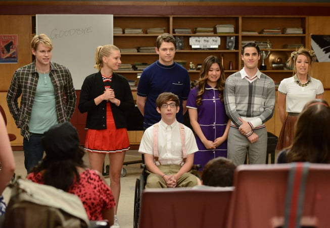 Chord Overstreet, Heather Morris, Kevin McHale, Damian McGinty, Jenna Ushkowitz, and Darren Criss on Glee. Photo courtesy of Fox