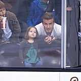 Harper Beckham watched the game with her dad, David Beckham.