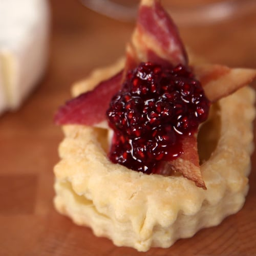 Bacon-Wrapped Brie Cups With Raspberry Compote