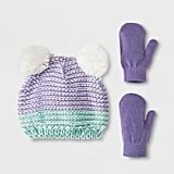 Toddler Girls' Ombre Pom Beanie Hat and Mitten Set