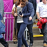On Tuesday 31 July, Kate Middleton donned her Smythe blazer again and teamed it with those Stuart Weitzman for Russell & Bromley wedges she loves plus a navy striped top.