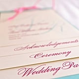 Pink and Blue Wedding Program
