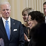 Joe Biden looked moved after being sworn in privately.