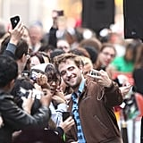 Robert Pattinson couldn't help but smile with all of his fans.