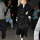 Hailey Baldwin in an Off-White duster coat.