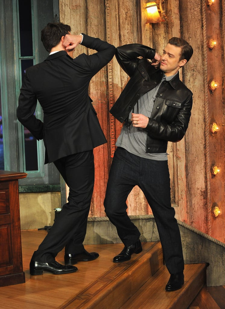 """Jimmy Fallon welcomed guest Justin Timberlake with an elbow bump last night to begin JT's week-long stint on Late Night With Jimmy Fallon. Justin is appearing on the show leading up to the release of his new album, The 20/20 Experience, on March 19. Last night, he performed a new song from the record called """"Pusher Love Girl."""" Fans can also get an early listening opportunity by streaming his new album on iTunes —and so far, the early 20/20 Experience reviews are quite good. Last night, Justin chatted with Jimmy about a stop on another recent show. Justin's appearance on SNL over the weekend attracted a bit of controversy after he changed up a line of lyrics in """"Suit & Tie."""" In response to a diss from Kanye West, JT sang that he's got """"rappers acting dramatic."""" Last night, however, Justin addressed the rumors concerning Kanye, telling Jimmy, """"For the record, I absolutely love Kanye."""""""