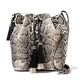 Loeffler Randall Tasseled Python-effect Leather Bucket Bag - Snake print ($550)