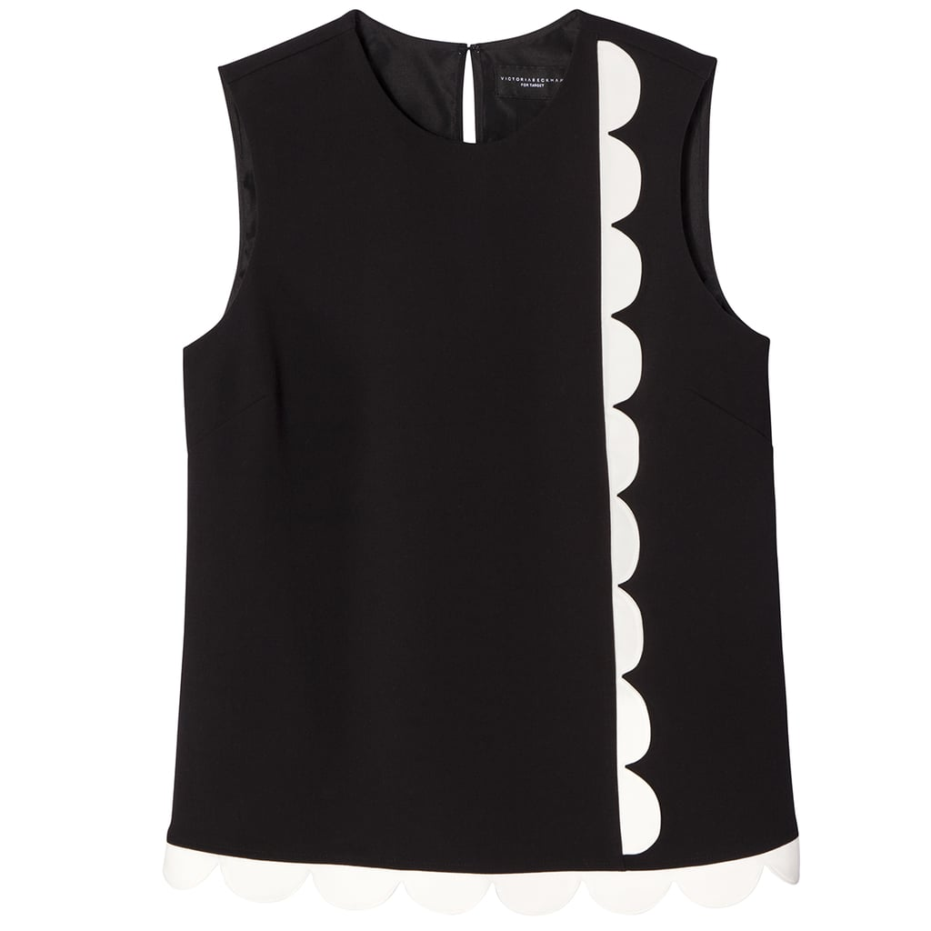 Black Twill Tank Top with Asymmetric Scallop Trim ($26)