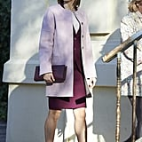 Showing off her monochrome skills, the queen wore a blush-toned coat over a burgundy suit while visiting Madrid's Foundation Against Drug Addiction in January 2016.