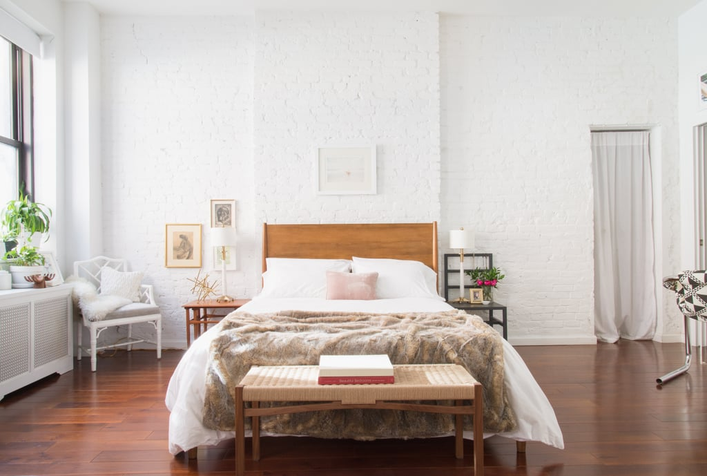 Homepolish interior designer Julia Montanez decided to center her bed  within the 400 square. Homepolish interior designer Julia Montanez decided to center her