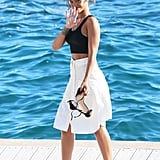 Rihanna was surrounded by water in Antibes, France, on Wednesday.