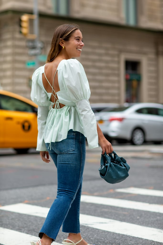 Easy Outfits: A Puffy-Sleeve Top, Jeans, a Bag, Heels, and Earrings