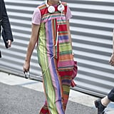 Susie Bubble turned heads in rainbow hues.