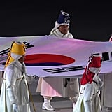 The flag of South Korea is carried into the stadium.
