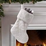Snowy White Faux Fur Christmas Stocking