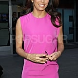 Eva Longoria wore a pink dress in NYC.