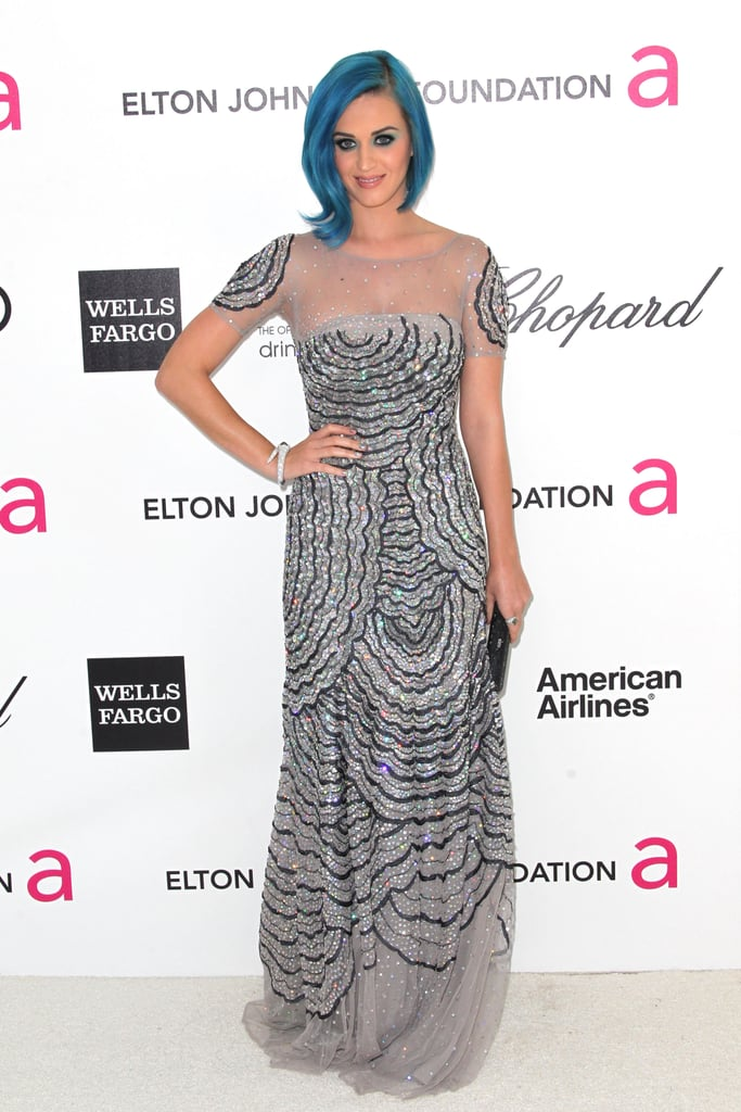 Katy Perry chose a sheer-infused Blumarine gown and minimal jewelry for the evening's festivities.