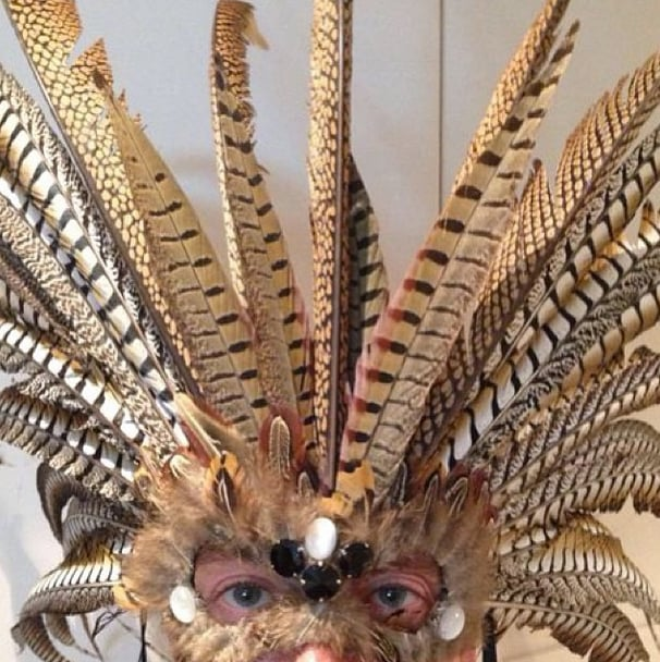 If ever Dolce & Gabbana decides to go into the mask business, Stefano Gabbana's feathered style would be a good place to start. Source: Instagram user stefanogabbana