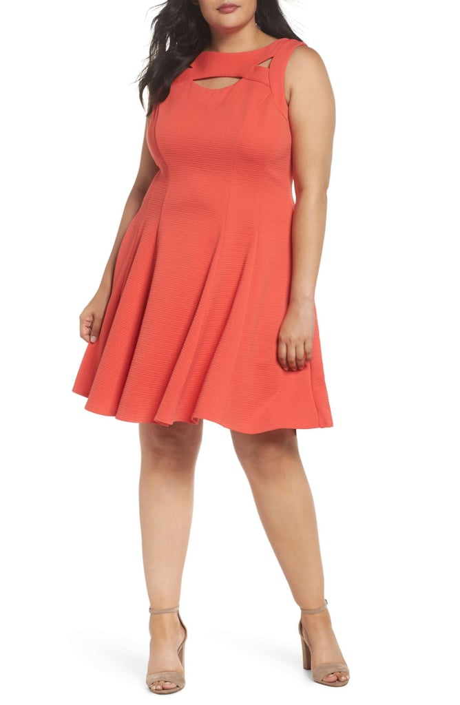 Gabby Skye Womens Cutout Fit And Flare Dress Plus Size Dresses On