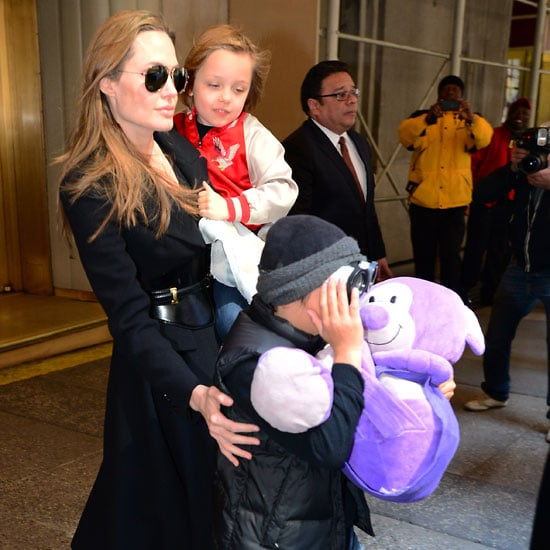 Angelina Jolie Toy Shopping in NYC With Her Children