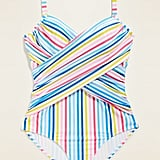 Old Navy Multi-Stripe Wrap-Front Secret-Slim Underwire Plus-Size One-Piece Swimsuit