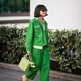 Make a punchy pair of wide legs bolder by styling with equally bright and tonal extras.