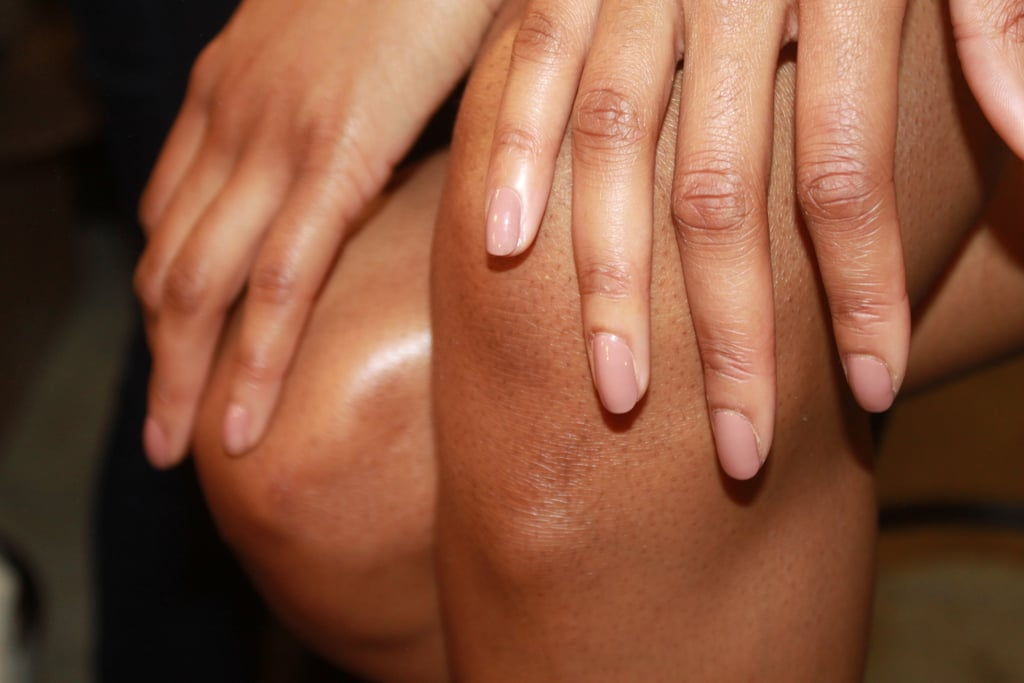 Nail artist Jin Soon Choi picked two nude colors for the nails: Estée Lauder polish in So Vain for darker skin tones and Nudité for fairer models.